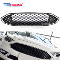 1Pcs Car Racing Grille For Ford Mondeo Fusion 2016 2017 Grill ABS Black Chrome Radiator Trim Front Bumper Modify Honeycomb Mesh
