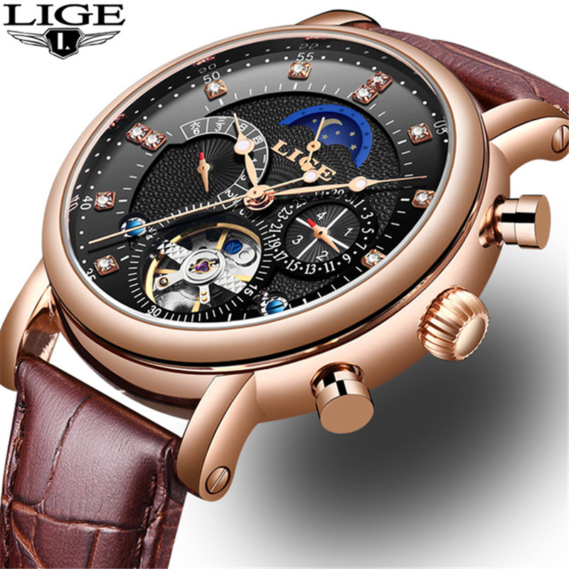 LIGE Mechanical Watch Men Sport Tourbillon Automatic Top Luxury Brand Relojes Hombre Leather Moon Phase Watches