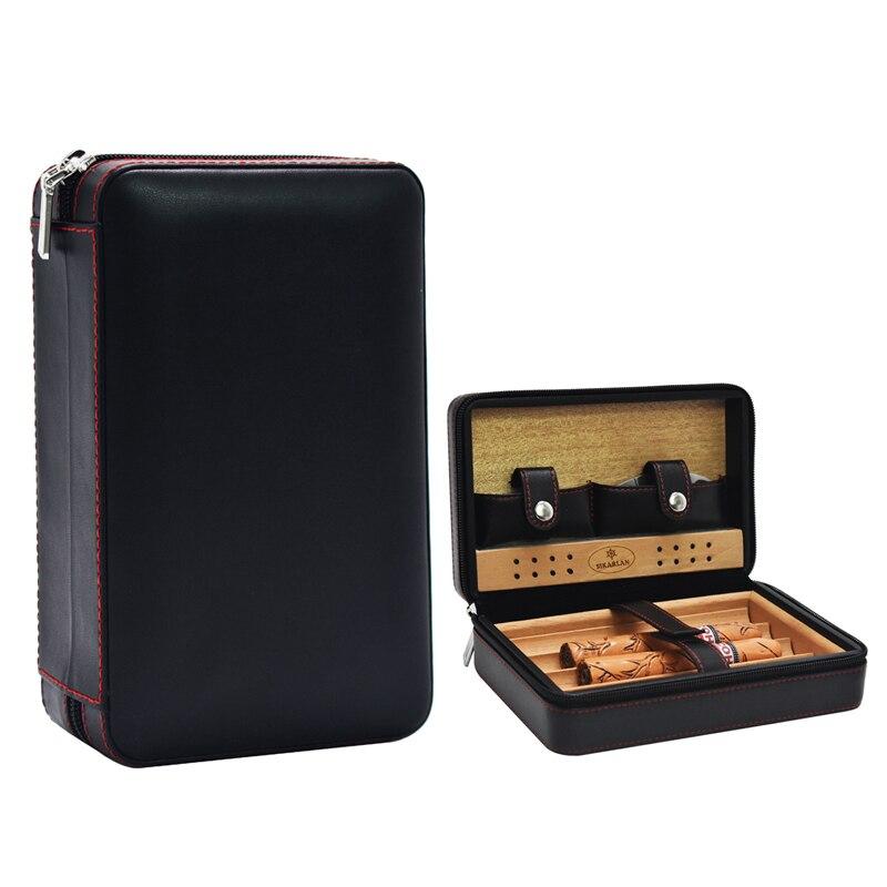 Genuine Leather Solid Cedar Wood Tray Cigar Case Travel Carry 4 Tubes Mini Humidor Box Cigars