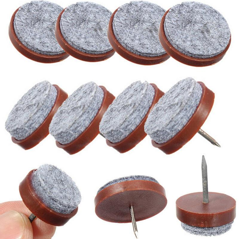 10 Pcs Floor Nail Protector 24mm Table Chair Feet Legs Glides Skid Tile Felt Pad