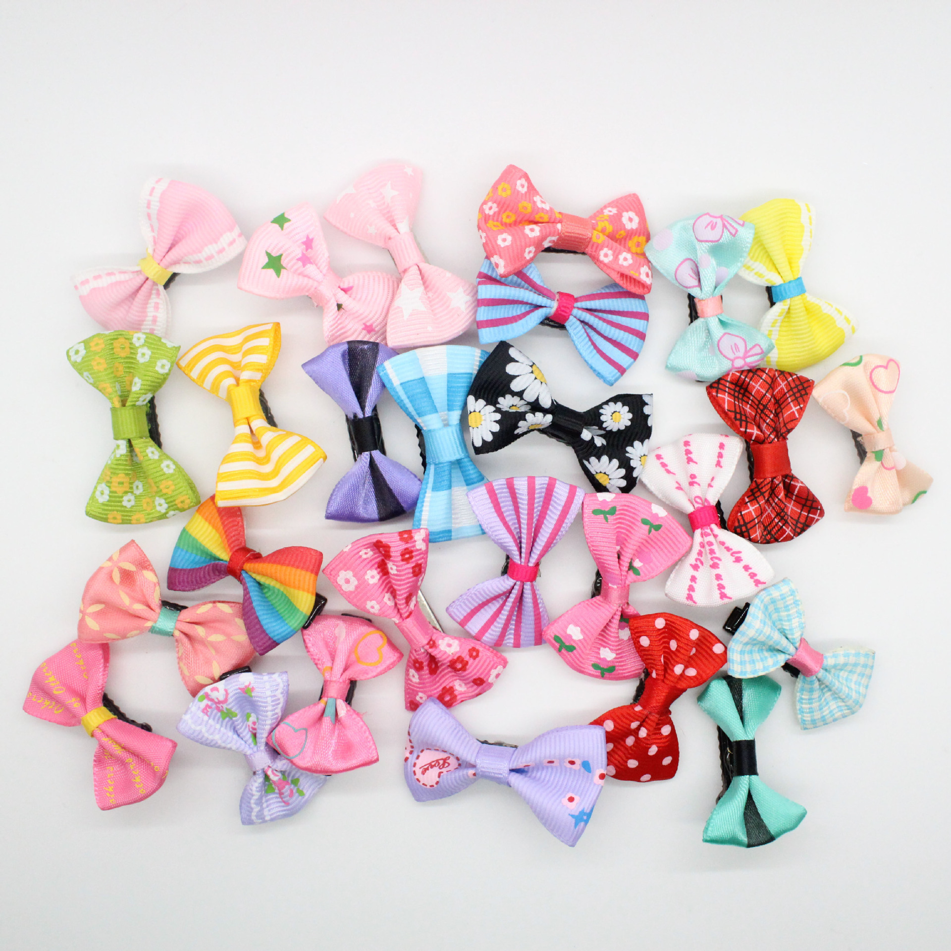 2017 New Fashion Girls Kids Candy Color Dot Flower Print Ribbon Bow Hairpin Hair Clips Kids Hair Barrette Accessories Acrylic free shipping 10pcs lot new double satin bow hair clip rhinestone bowknot hairpin girls kids barrette