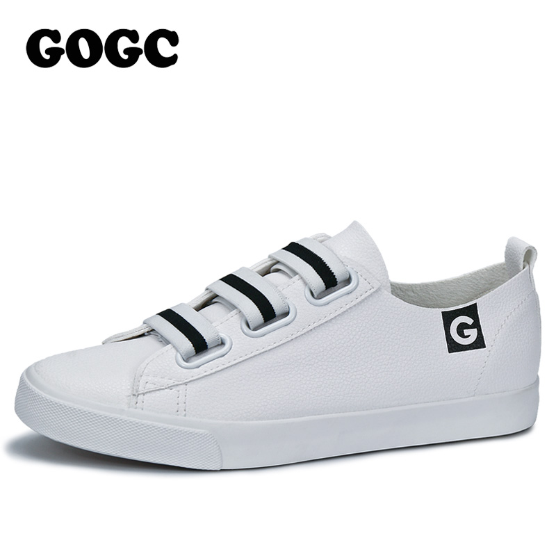 GOGC 2018 White Women Sneakers Breathable Soft Ladies Leather Shoes Autunm Casual Slip on Women Shoes Causal Shoes Slipony Women 2017 new women shoes fashion stud canvas shoes women causal shoes comfortable slip on shoes for women slipony ag11