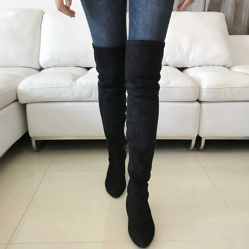 82a11f904140a ... 2018 New Bota Feminina Black Faux Suede Leather Boots Woman Over The  Knee Winter Boots Womens ...
