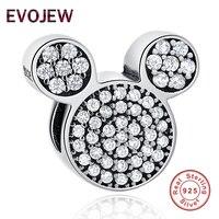 EVOJEW Genuine 100 925 Sterling Silver Mickey Charms Beads Fit Original Pandora Bracelet Necklace For Women