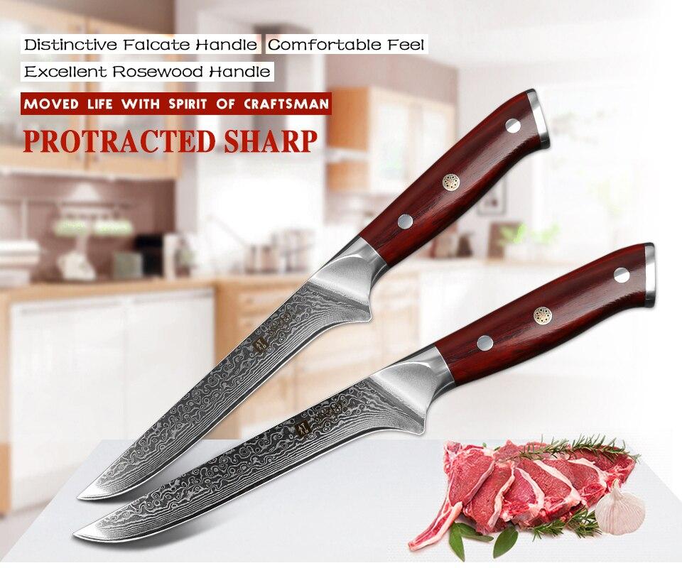 "6"" Boning Fish Knife vg10 Damascus Steel Sharp Kitchen Knives Rosewood Handle"
