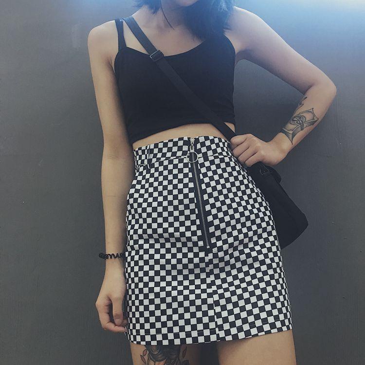 HTB14YJ4RpXXXXaoXFXXq6xXFXXXX - FREE SHIPPING High Waist Mini Skirts Black White Checkerboard Plaid JKP240