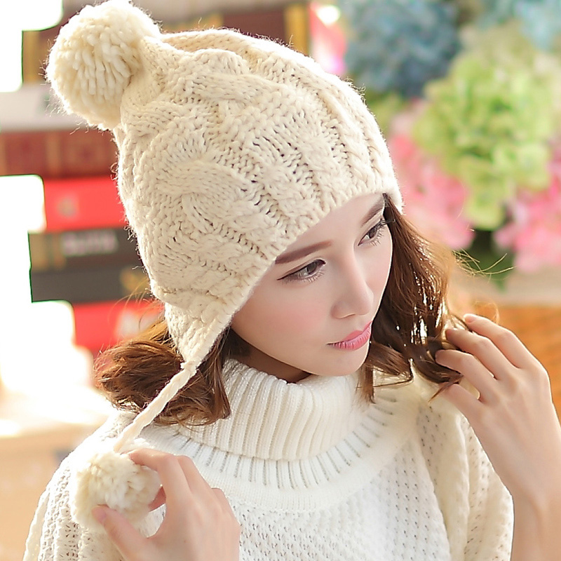 BomHCS Women Autumn Winter Warm Handmade Knitted Beanie Hat Cute Lady Girl Ear Muff Cap bomhcs korean cute autumn winter warm color mosaic knitted hat ear muff 100% handmade women beanie cap