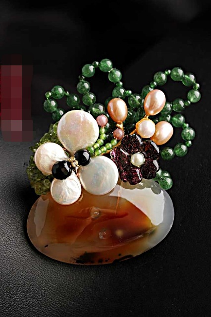 Natural semi-precious stone Brooches Pins With Freshwater Pearl Butterfly Free Shipping Women Jewelry Pendant машинка для стрижки zimber zm 10657