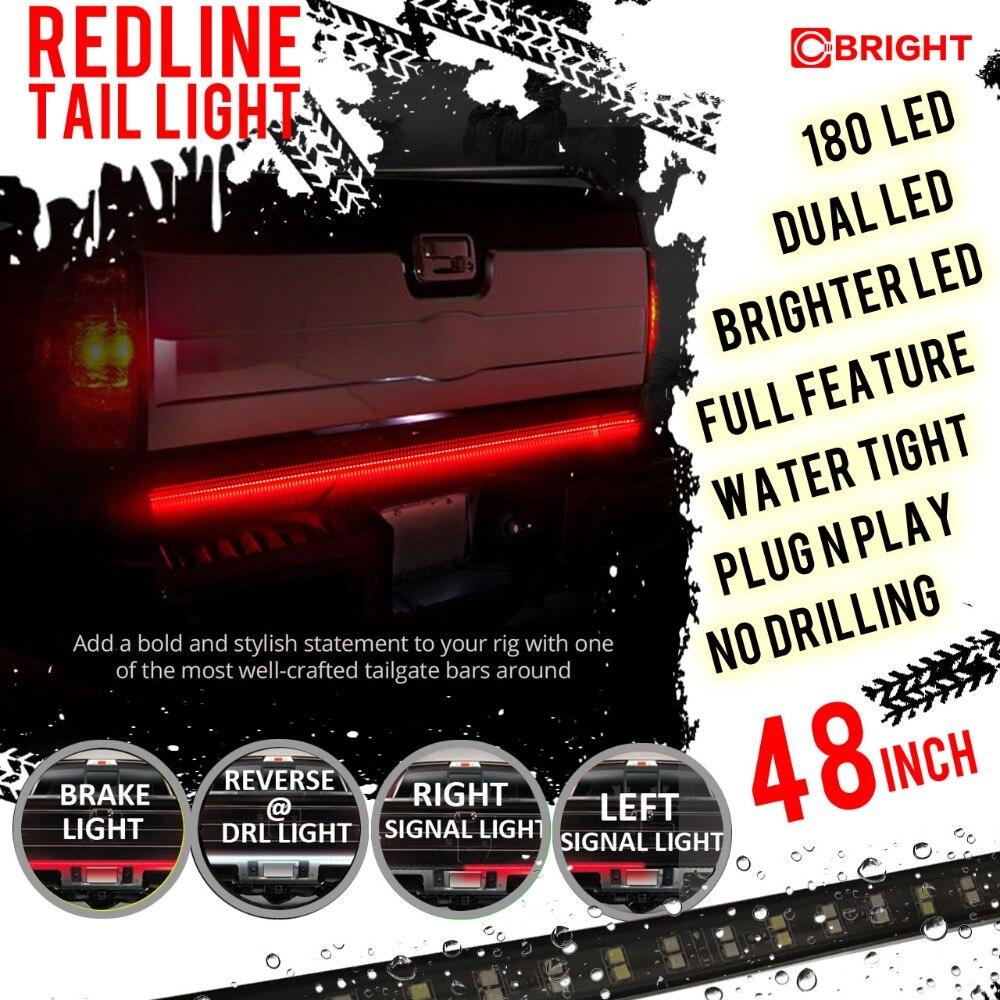 "Waterproof 60/"" 180LED Car 2-Row Tailgate Light Strip Turn Signal Lamp Red//White"