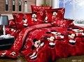 100% Хлопок постельное белье 3d микки маус постельного белья минни дети пододеяльник набор король/королева/твин 3 ШТ. покрывало Красный счастлив постельные принадлежности