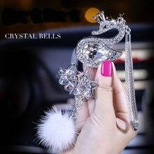 Украшение автомобиля кулон модный Кристалл Алмаз меховой шар Декор для автомобильного зеркала заднего вида подвесные украшения аксессуары