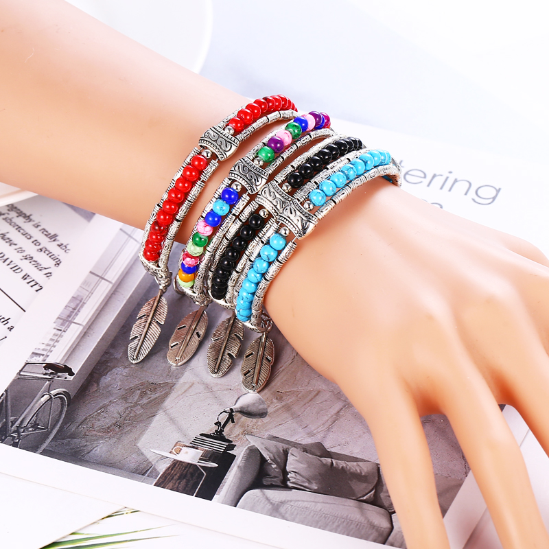 HOCOLE New Vintage Charm Bracelets Bangles For Women Ethnic Leaf Pendant Natural Stone Bead Bracelet Wedding Jewelry 2019