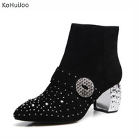 KoHuiJoo Big Size Winter Boots Women Fashion Beading Rhinesone Pointed Toe Suede Zipper Ankle Boots High