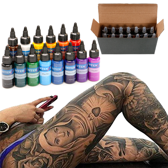 14 Colors Tattoo Ink Set 1 Oz 30ml/Bottle Tattoo Inks Pigment Kit for Tatoo Makeup Beauty Skin Body Art Permanent Makeup