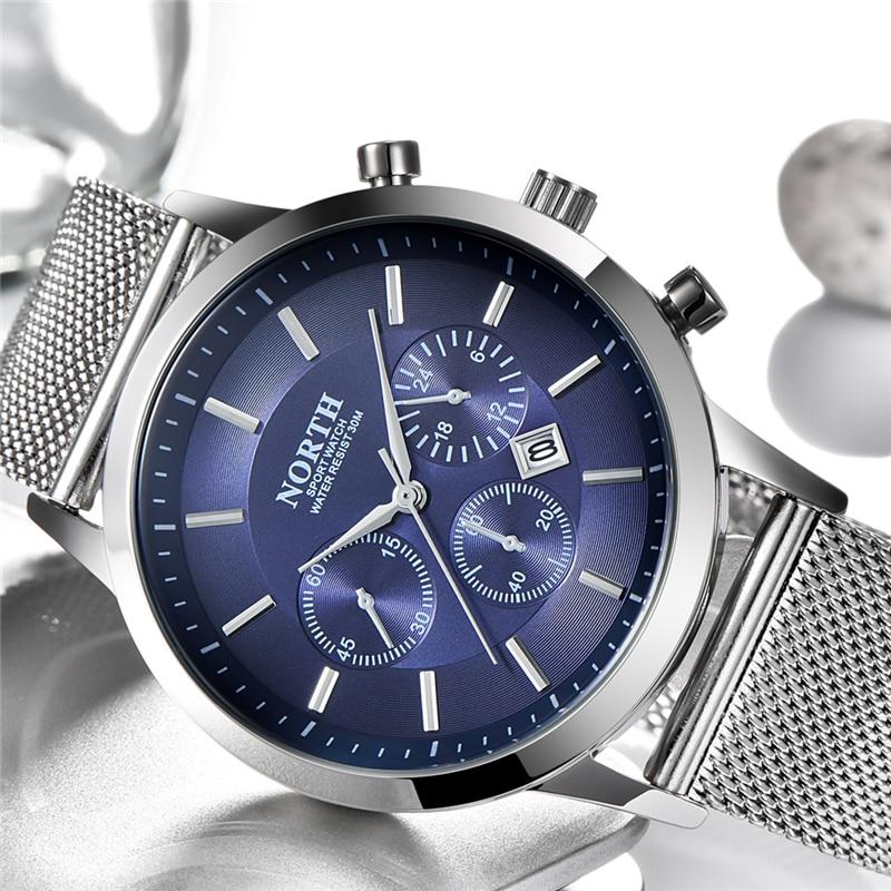 NORTH Mens Watches Top Brand Luxury Quartz Watch Men Casual Steel Mesh Military Waterproof Sport Wrist Watch Relogio Masculino