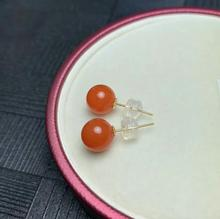 shilovem 18K ROSE Gold real Natural south Red agate earrings fine Jewelry gift Ethnic new  plant myme8-8.500nh