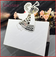 hot-selling 50pcs/lot Laser Cut Angel Laser Wedding Party Table Name Place Cards Favor Decor Christmas Table Card free shipping 120pcs lot laser cut humming bird shaped table name place card escort card wine glass card wedding baby shower decoration wd108