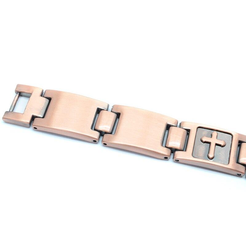 Escalu 18 Cross Pattern Magnetic Bracelet For Men Christian Fashion Antique Copper Charm Bracelet Jesus Christ New Wristband 5