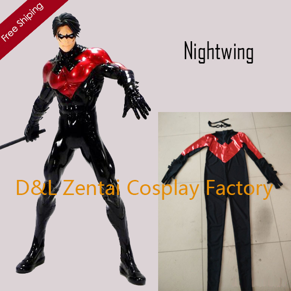 Free Shipping Dhl Adult Dc Comics Black And Red Nightwing -7613