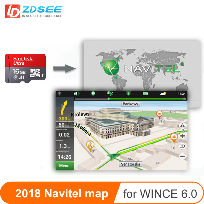 Car GPS Map Micro SD Cards 16G For Navitel Windows Ce 6.0 Or Android System 2018 Map Free Update Europe/Russia/spain/middle East