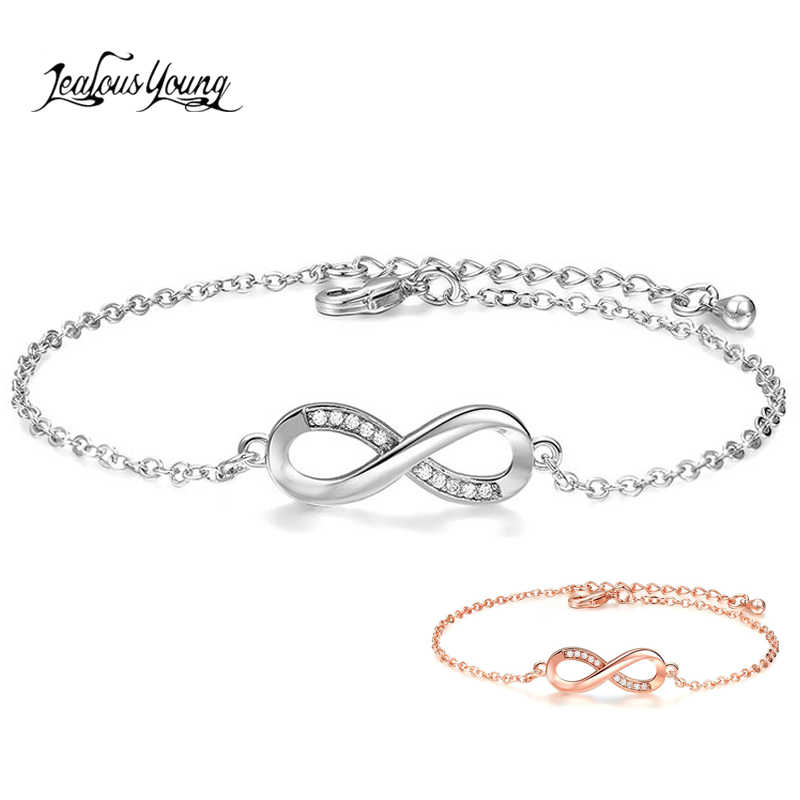 Mode Zircon infini réglable chaîne bracelets pour femme couleur argent bracelet à breloques et bracelet fille géométrique bijoux cadeaux