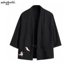WHOHOLL Japanese Style Cardigan Embroidery Mens Cotton Kimono Shirts Jacket Thin Coat Yukata for Men Spring Summer