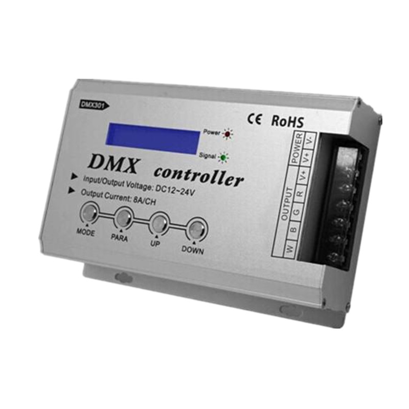 DMX301 Low-voltage DC12-24V LED DMX controller with LCD digital display 8A/channel 3 channels for rgb led strip light bulb lamps ws24luled 24ch easy dmx decoder controller 24 channel dimmer each channel max3a digital display rgb light dc5v 24v for led strip