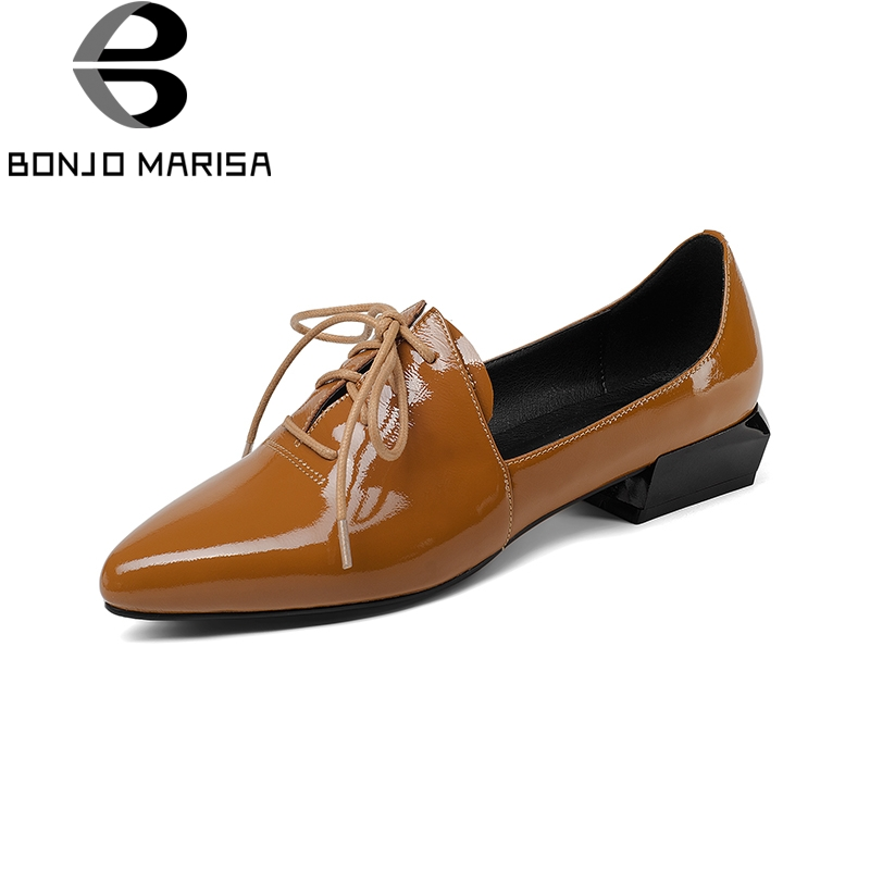 BONJOMARISA Genuine Leather 2018 Cow Leather Lace Up Square Heels Women Shoes Woman Black Pointed Toe Pumps Shoes Size 34-39 qmn women genuine leather platform flats women lace cut glossy leather square toe brogue shoes woman lace up leisure shoes 34 39