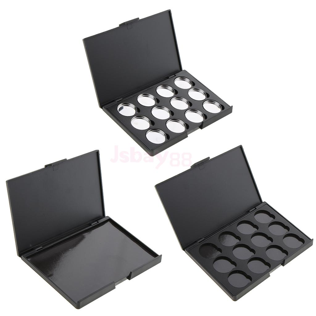 Plastic Black Empty Magnetic Palette Box Blusher Eyeshadow Powder Makeup Case Organizer Container Travel Size Portable цены