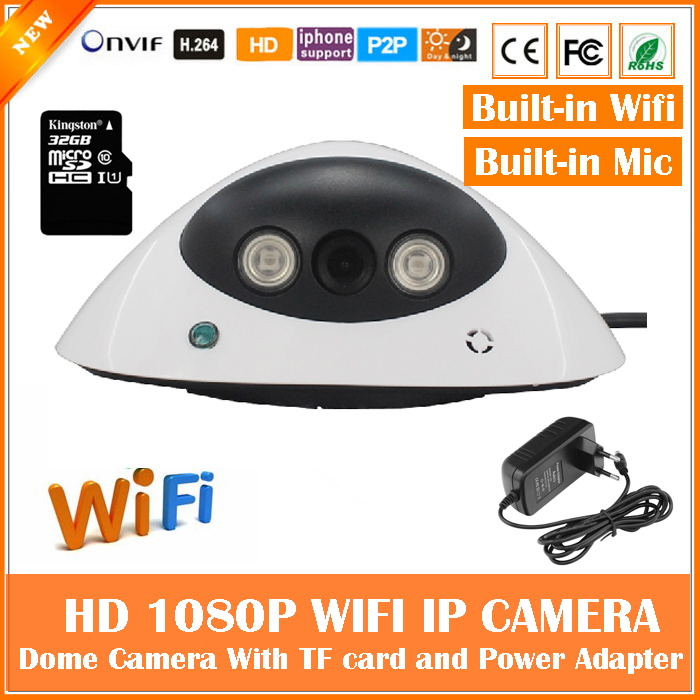 1080p Dome Ip Camera Audio Wifi Motion Detection Card Mini White Cctv Surveillance Security Built-in Mic Webcam Freeshipping hd 960p bullet ip camera wifi motion detection outdoor waterproof mini card black cctv surveillance security freeshipping