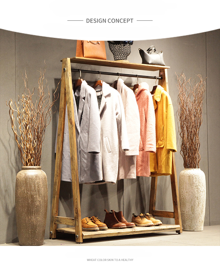 Country Style Commercial Coat Rack LOFT / Chinese Fir Furniture / Industrial Wooden Coat Hanger / Movable Clothing Display Stand