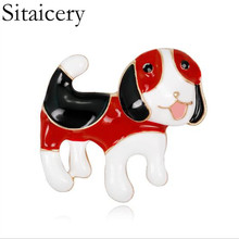 Sitaicery Cute Small Dog Pin Brooches For Women And Kids Enamel Animal Brooch Coat Dress Accessories Bijouterie Brooch Jewelry frogs brooches for women accessories green enamel pin metal animal enamel rhinestone brooch cute kids pin fashion karl jewelry