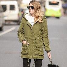 NORMOV mujeres Parkas invierno chaqueta con capucha mujeres algodón caliente hembra más tamaño medio largo Jaqueta Feminina