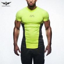 KORKSLORES Hot selling Men T-Shirt Tops Quick Dry Slim Fit Tees Printed Bodybuilding Fitness V-Neck Short sleeve T-shirt
