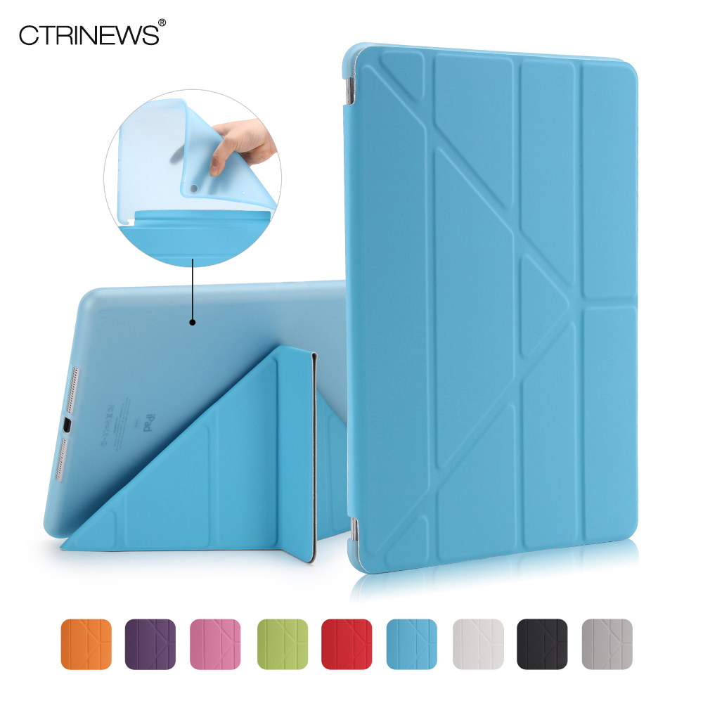 CTRINEWS For Apple iPad Air 1 Smart Cover Case Magnetic Wake Up /Sleep Multi Fold PU Leather Cover for iPad 5 Soft TPU Back Case ocube tri fold ultra slim tpu silicon back folio stand holder pu leather case cover for apple ipad 6 ipad air 2 9 7 tablet