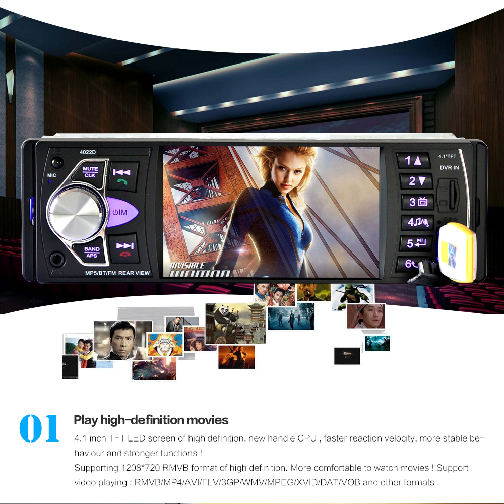 4022D 4.1 Inch 12V 1 Din HD Car Stereo Radio Bluetooth MP3 MP5 Player Support USB / FM / TF / AUX with Rearview Camera