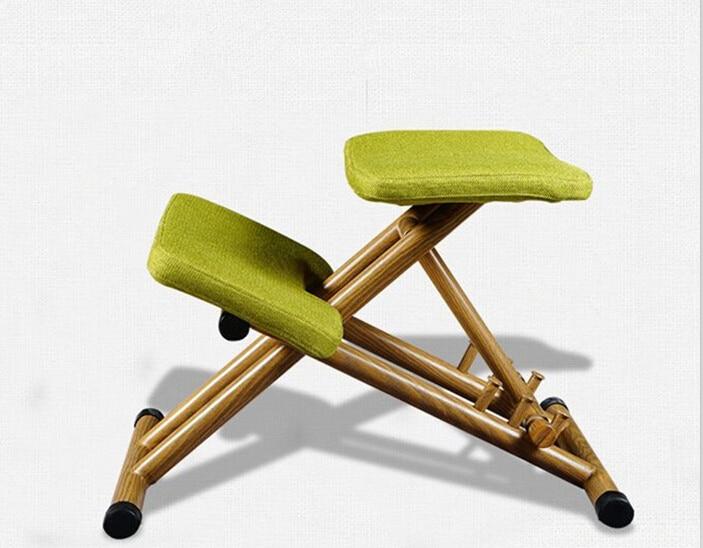 Ergonomically Designed Kneeling Chair Green Fabric Cushion