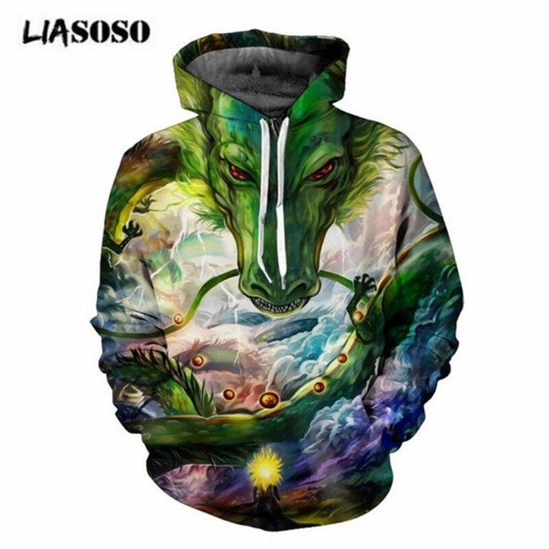 LIASOSO Cartoon Summon God Dragon 3D Printed Men Anime Hoodies Sweatshirt Dragon Ball Z Hooded Sweats Tops Pullover Outerwear