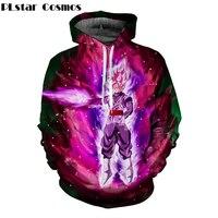 PLstar Cosmos Men Women Pocket Hooded Sweatshirts Cool Black Goku Prints Hoodie Galaxy Dragon Ball Z