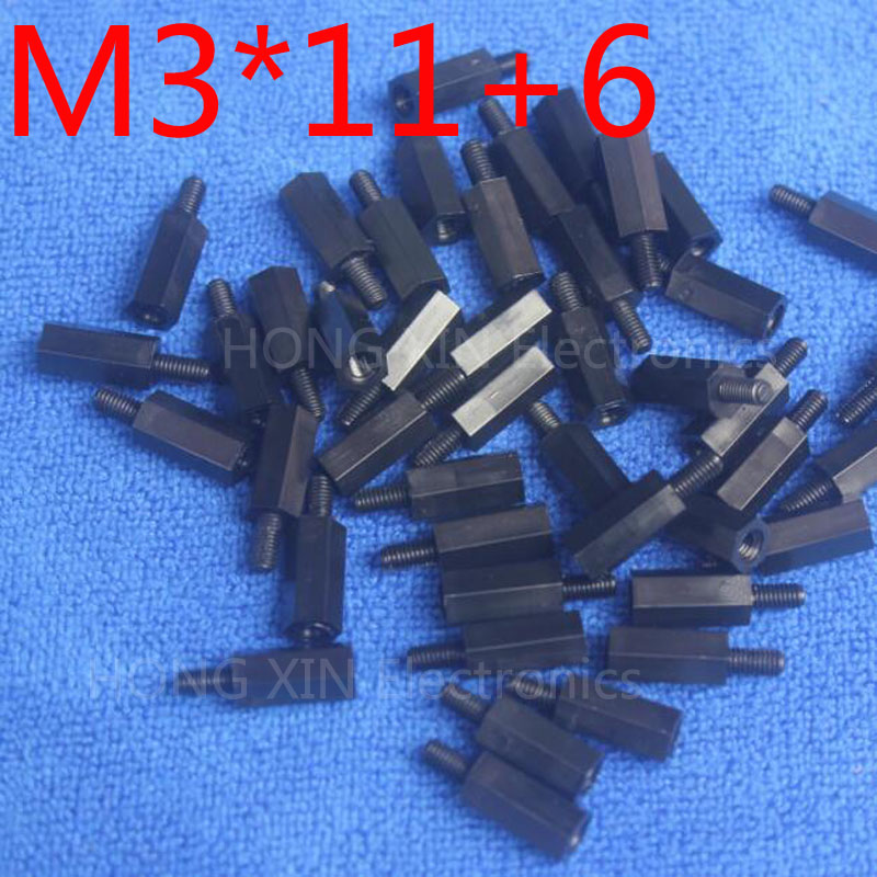 M3*11+6 1 pcs Black Nylon Standoff Spacer Standard M3 Male-Female 11mm Standoff Kit Repair Set High Quality