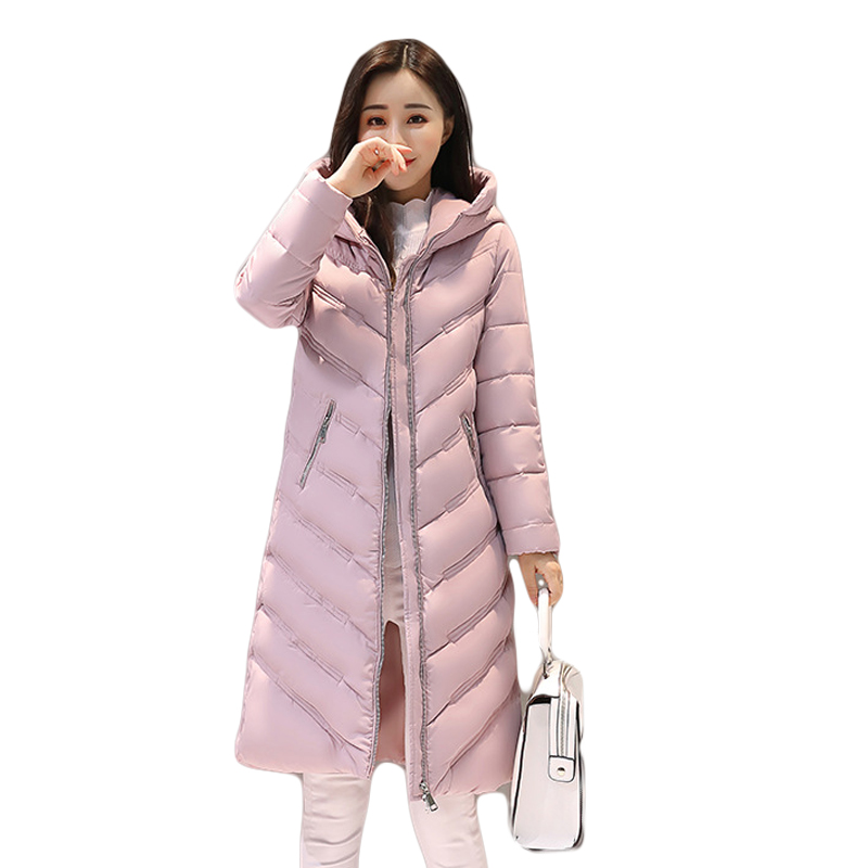 Winter Jacket Women Long Warm Down Cotton-padded Hooded Parkas Female Loose Style Casual Thick Warm Coat Plus Size 3XL CM1352 linenall women parkas loose medium long slanting lapel wadded jacket outerwear female plus size vintage cotton padded jacket ym
