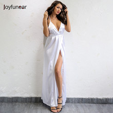 f409486d9763 Joyfunear New arrival split maxi dress white blue solid sexy deep v neck  evening party elegant