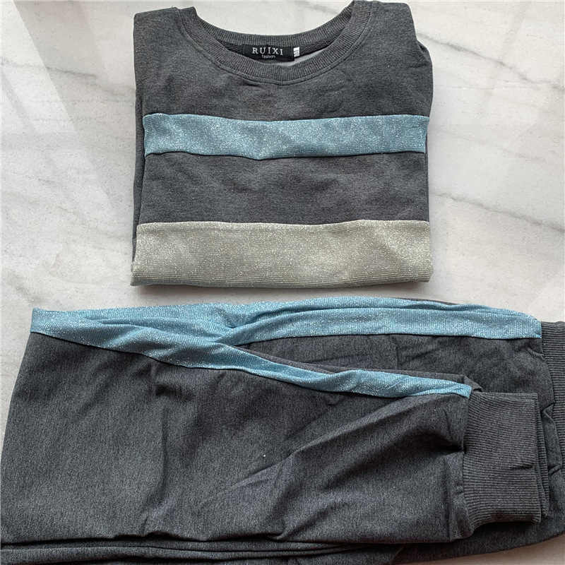 Женский спортивный костюм, 2 предмета, толстовка с капюшоном + штаны в полоску сбоку, женские комплекты из 2 предметов, женские костюмы, женская уличная одежда