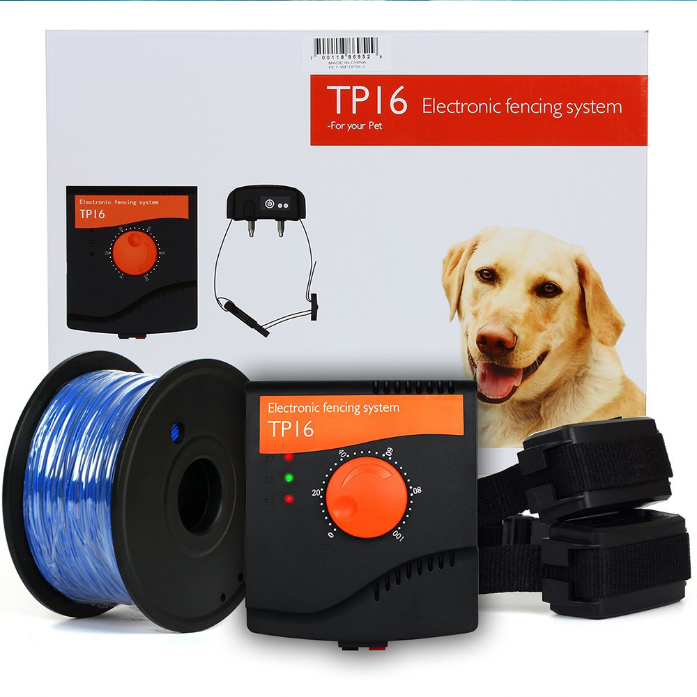 TP16 Pet Dog Electric Fence System Rechargeable Waterproof Shock Adjustable Dog Training Collar Electronic Pet Fencing