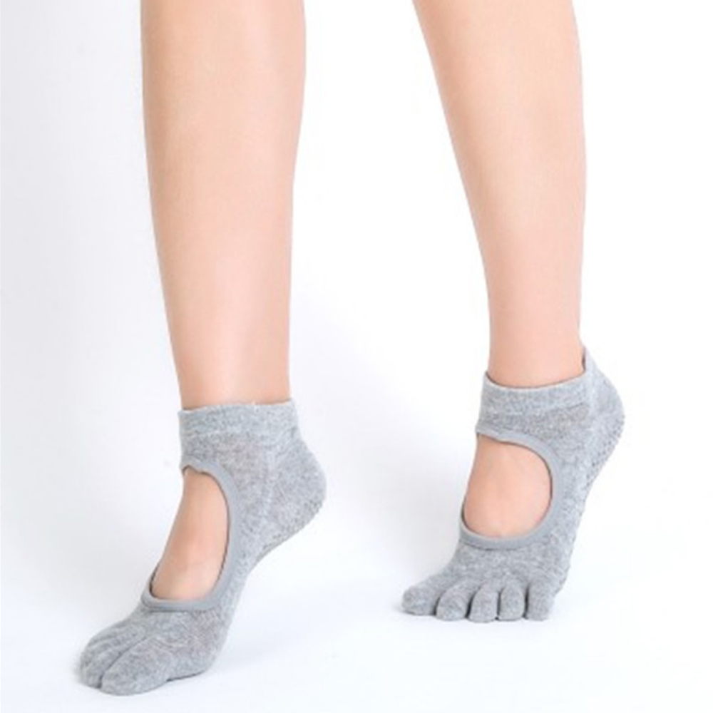 Women Yoga Socks Anti-slip Five Fingers Backless Silicone Non-slip 5 Toe Socks Ballet Gym Fitness Sports Cotton Yoga Socks
