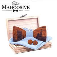 Mahoosive France Marseille Skyline Wooden Bow ties Bowtie Butterfly Gravata Skyline Ties For Men Cufflinks Handkerchief Football
