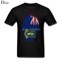 British Virgin Flag Fingerprint T Shirt Men Boy Classic Short Sleeve Crewneck Cotton XXXL Men's Tee Shirts