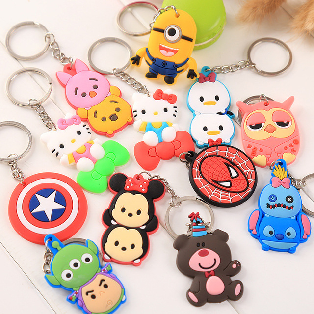 Wholesale Cute Keychain Rubber Key Chain PVC Cartoon Key Ring Creative Couple Key Bag Pendant Gift For Women Children Student 4