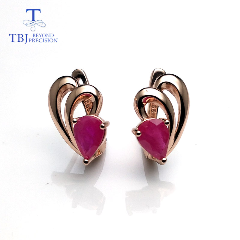 TBJ,natural ruby gemstone simple & classic design earring in 925 sterling silver rose gold color best gift for girls & women-in Earrings from Jewelry & Accessories    2