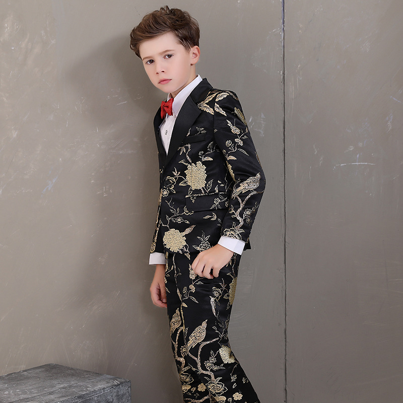 Flower Boy Formal Wedding Dress Suit Sets Children Prom Host Piano Performance Costume Kids Tuxedo + Pants Bowtie Outfits-in Suits from Mother & Kids    3